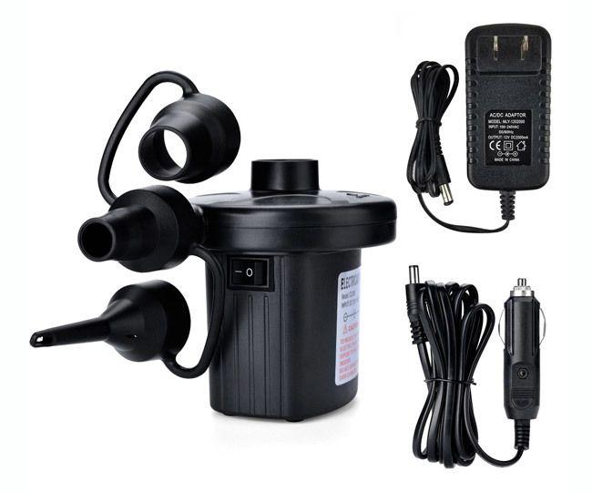 Electric Air Pump, AGPtEK Portable Quick-Fill Air Pump with 3 Nozzles, 110V AC12V DC